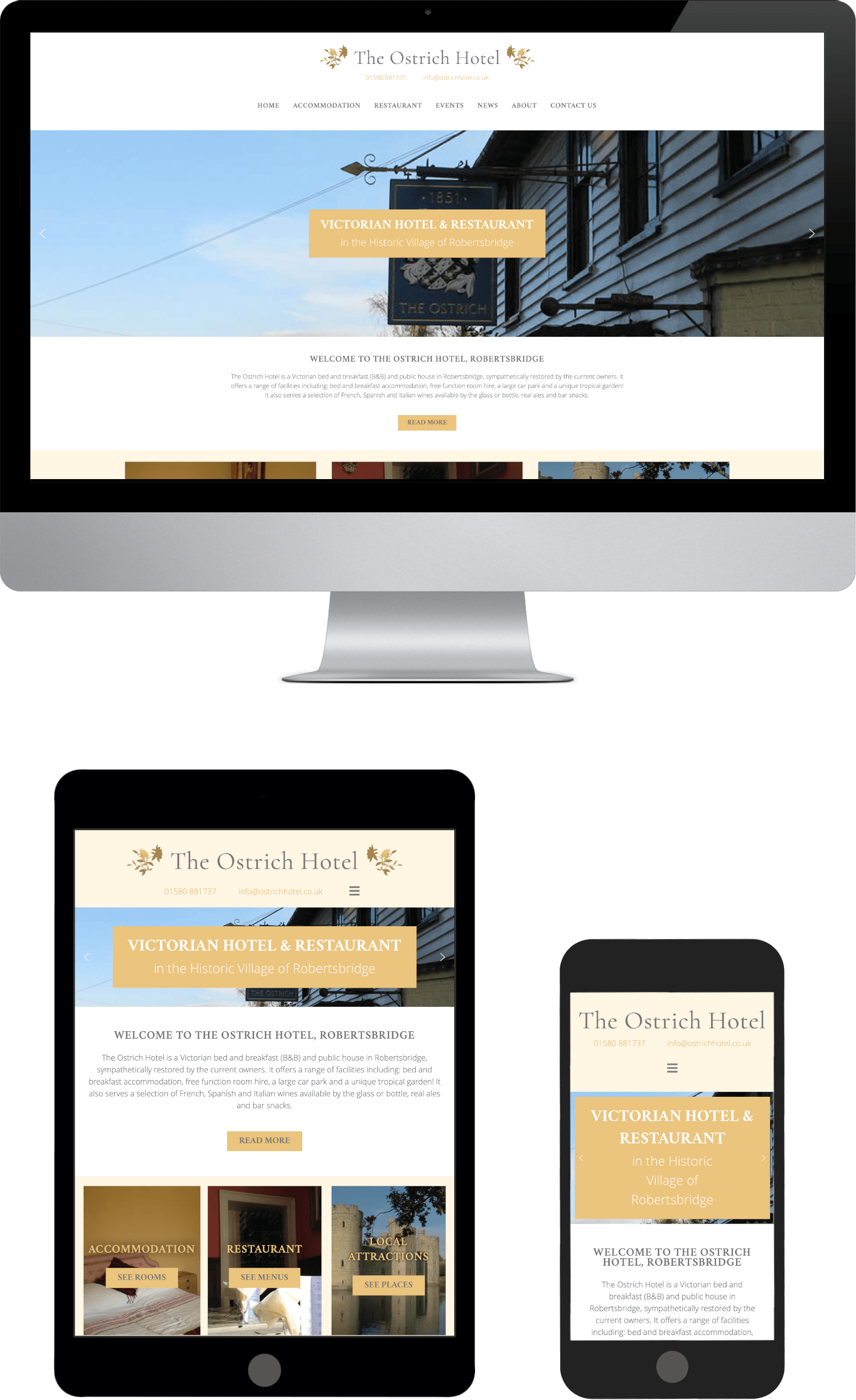 The Ostrich Hotel Responsive Web Design Sussex